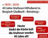 Infoplakat der Malteser aus Bergisch Gladbach Bensberg zum Jubiläumsfest.