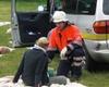 Übung: Ein Helfer der Meckenheimer Malteser betreut eine Betroffene. Foto Malteser Meckenheim.