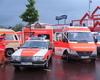 Die Fahrzeuge der Euskirchener Malteser warten auf ihren Einsatz. Insgesamt wurden mehr als 60 Einsatzfahrzeuge aus Düsseldorf und der Umgebung eingesetzt.    Foto: Daniel Kalff, Malteser Bad Münstereifel.